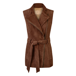 Troy London Ladies Belted Suede Gilet