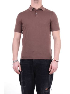FEDELI MEN'S 3UED5913FANGO BROWN OTHER MATERIALS POLO SHIRT