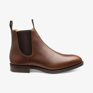 loake danite waxed leather chelsea boots , Colour:BROWN