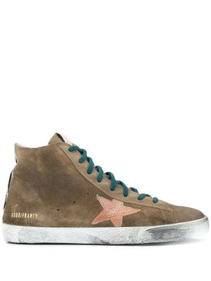 GOLDEN GOOSE MEN'S GMF00113F00059715253 BROWN SUEDE HI TOP SNEAKERS