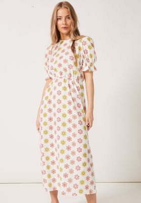 TILLY Round Necked Midaxi Puff Sleeved Dress White Daisy