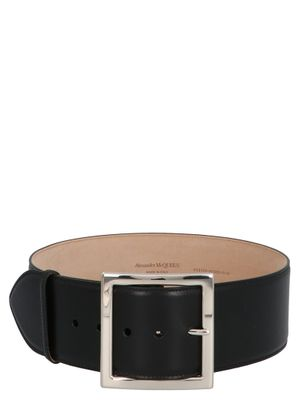 ALEXANDER MCQUEEN WOMEN'S 6321261BR0I1000 BLACK LEATHER BELT