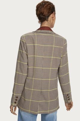 Maison Scotch Longer-Length Checked Double-Breasted Blazer