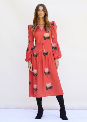 DAISY Midaxi dress with puffed sleeves and V-Neck in Red Protea