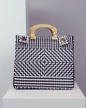 Briana Wooden Handle Woven Tote