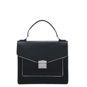 Brix + Bailey Structured Piped Black Leather Top Handle Bag