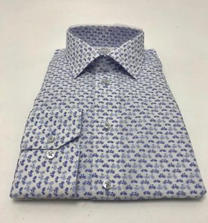 White Shirt with Blue Bicycle Print