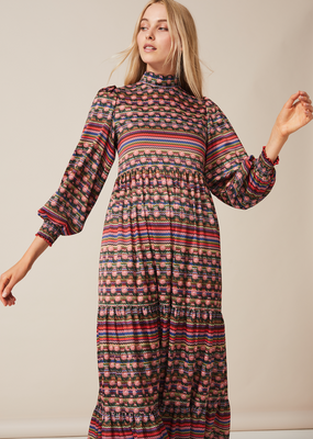 BETTY Dress Midaxi with puffed long sleeve and high neck in Multi Stripe
