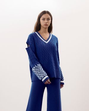 Blue Oversized V-Neck Sweater