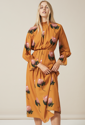 FELICITY Midaxi high neck Dress in Double Georgette in Large Yellow Protea