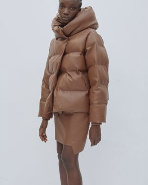 Patricia Chestnut Faux Leather Puffer Jacket