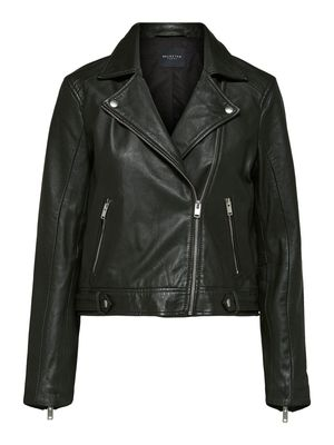 Selected Femme - Cropped Katie Leather Jacket in Green/Rosin