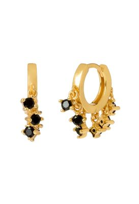 Black mini champagne gold earrings