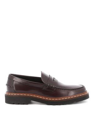 TOD'S MEN'S XXM01C00640LYGR807 BURGUNDY LEATHER LOAFERS