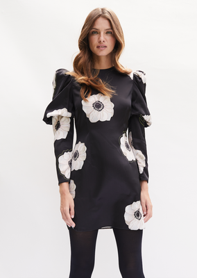 TALLULAH Mini Dress with round neck and puffed long sleeve in Black and Cream Poppy