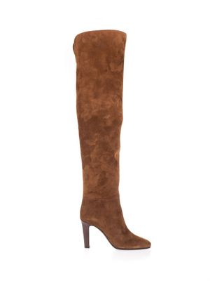 SAINT LAURENT WOMEN'S 6326130LI002330 BROWN SUEDE BOOTS