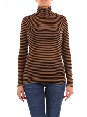 Crochè sweater with two-tone high collar