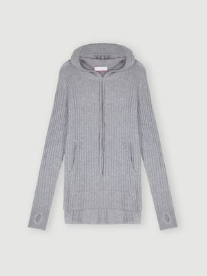 Cocoa Cashmere Essential Grey Ribbed Hoodie Jumper