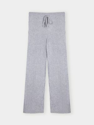 Cocoa Cashmere Essential Grey Ribbed Trouser