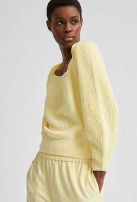 Gry ls knit square neck pastel yellow