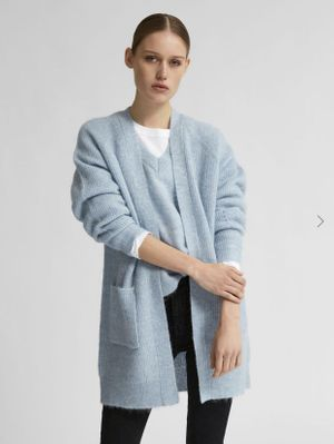 Selected Femme Lulu Long Knitted Cardigan - Pale Blue
