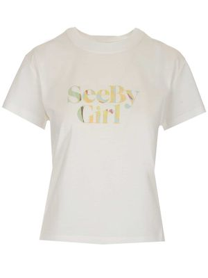 SEE BY CHLOÉ WOMEN'S CHS21SJH47113109 WHITE OTHER MATERIALS T-SHIRT