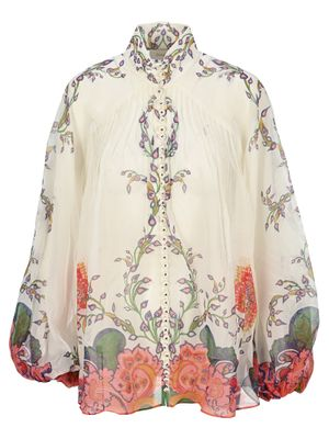 Zimmermann The Lovestruck Blouson Blouse in Natural Paisley Floral