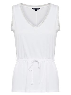 French Connection Tiffanee Lyocell Jersey V-neck Top - summer white-76QAH