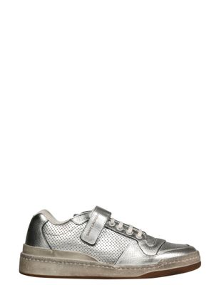 SAINT LAURENT MEN'S 55762408D108105 SILVER LEATHER SNEAKERS