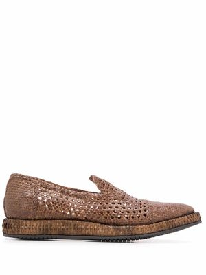 DOLCE E GABBANA MEN'S A50354AZ8708M204 BROWN CANVAS LOAFERS