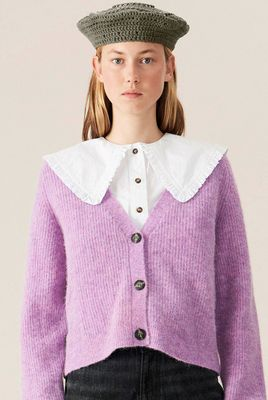 Soft Wool Knit Cardigan - Lilac