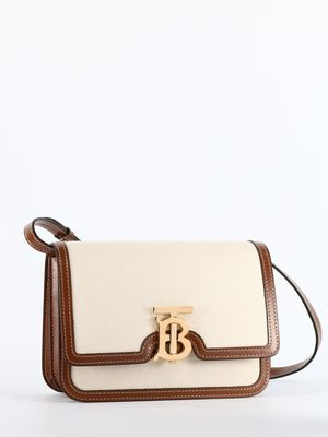 Small two-tone TB bag in canvas and leather