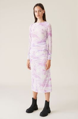 Printed Mesh Dress | Orchid Bloom