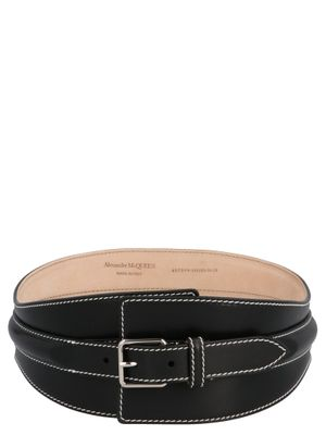 ALEXANDER MCQUEEN WOMEN'S 6572991BRAC1000 BLACK OTHER MATERIALS BELT
