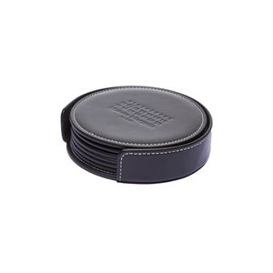 Leather Coasters 6 Pack - Black
