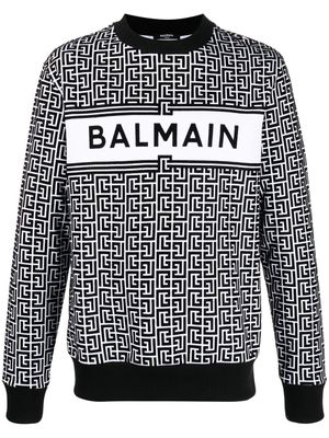 BALMAIN MEN'S VH0JQ040B089GAB WHITE COTTON SWEATSHIRT