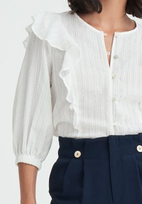 Frilled Broderie Blouse