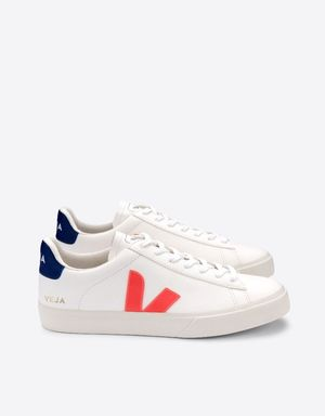 Veja Campo Leather Trainers - Orange Fluo/Cobalt