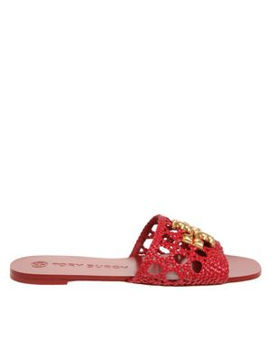 Tory burch mules eleanor in red woven leather