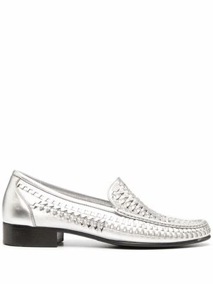 SAINT LAURENT MEN'S 6490282O7008105 SILVER LEATHER LOAFERS