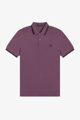 Fred Perry Twin Tipped Polo Shirt M3600 Black Plum