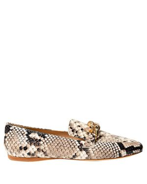 SNAKE PATTERN LEATHER LOAFERS