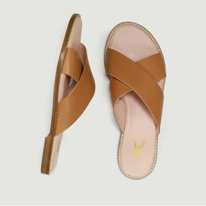 Infinity leather sandals CAMEL Craie