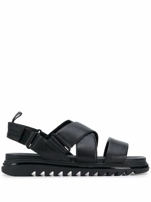 MICHAEL KORS MEN'S 42S0DAFA1L001 BLACK LEATHER SANDALS