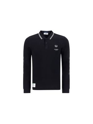FRED PERRY MEN'S FPSM188637102 BLACK OTHER MATERIALS POLO SHIRT