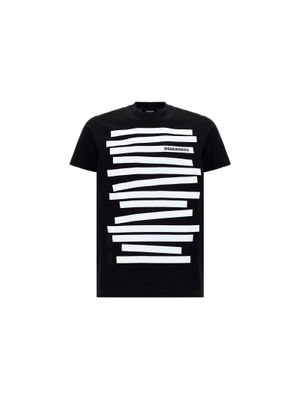DSQUARED2 MEN'S S71GD1011S23009900 BLACK OTHER MATERIALS T-SHIRT