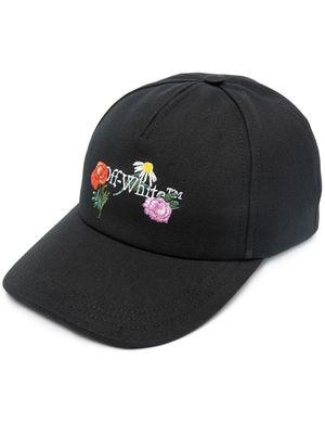 OFF-WHITE Women's Embroidered Flowers Canvas Baseball Cap Black M