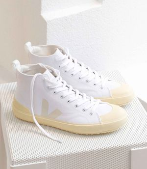 Nova White Butter Sole Canvas Hi-Top Sneakers