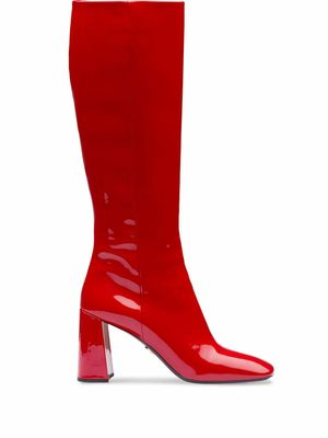 PRADA WOMEN'S 1W703LF085069F0011 RED LEATHER BOOTS
