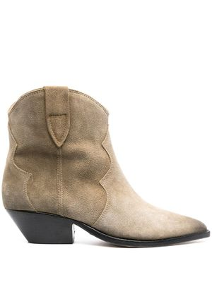 ISABEL MARANT WOMEN'S BO017400M015STAUPE50TA BEIGE SUEDE ANKLE BOOTS